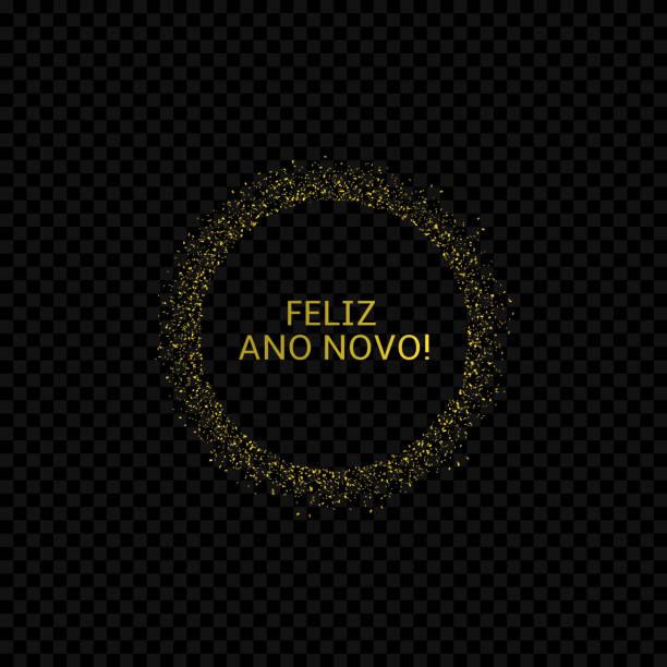 Portugese New Year label2 Portugese New Year label. Feliz ano novo, golden confetti label ano novo stock illustrations