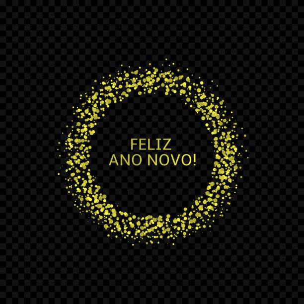 Portugese New Year label3 Portugese New Year label. Feliz ano novo, golden confetti label ano novo stock illustrations