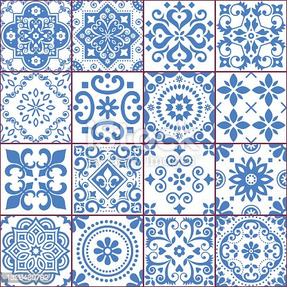 istock Portuguese and Spanish azulejo tiles seamless vector pattern collection in blue and white, traditional floral design big set inspired by tile art from Portugal and Spain 1326430762