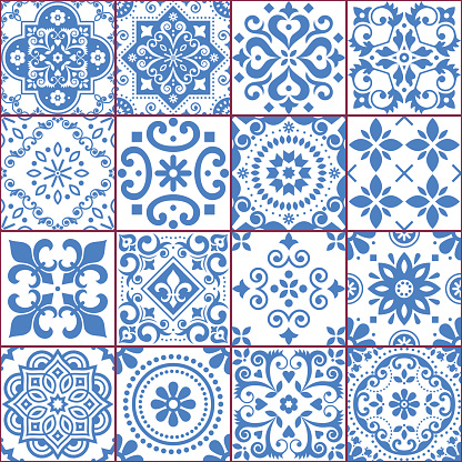 Portuguese and Spanish azulejo tiles seamless vector pattern collection in blue and white, traditional floral design big set inspired by tile art from Portugal and Spain