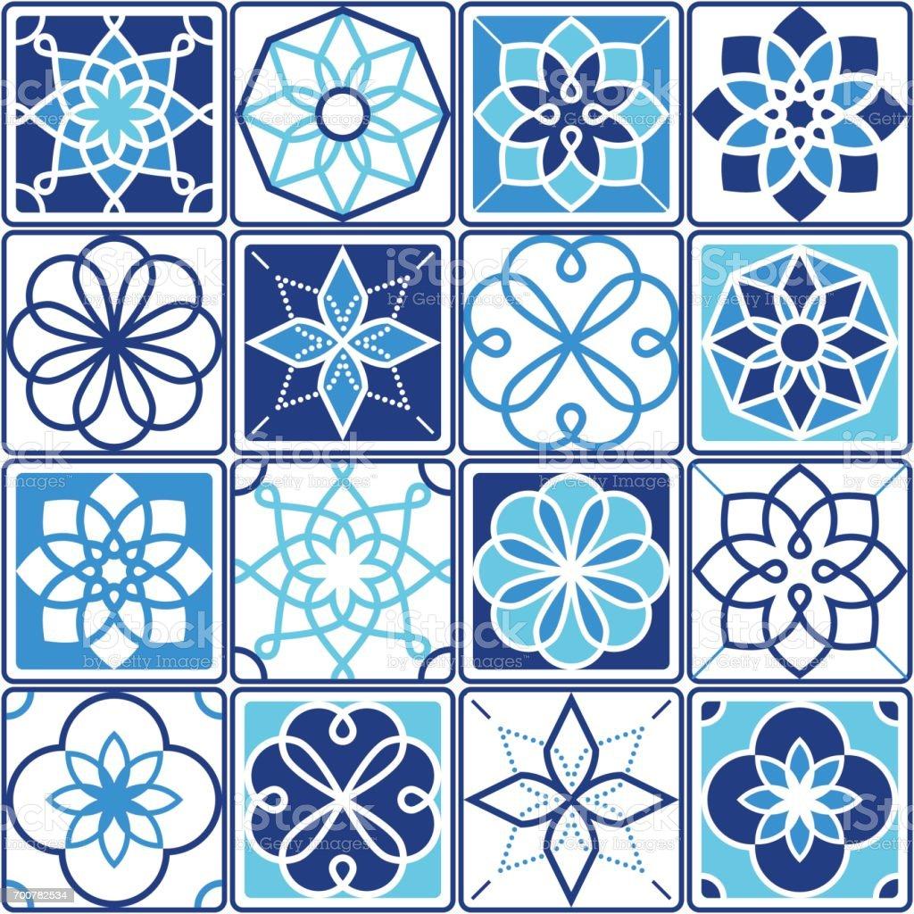 Portuguese Azulejo Tiles Design Seamless Geometric Patterns ...