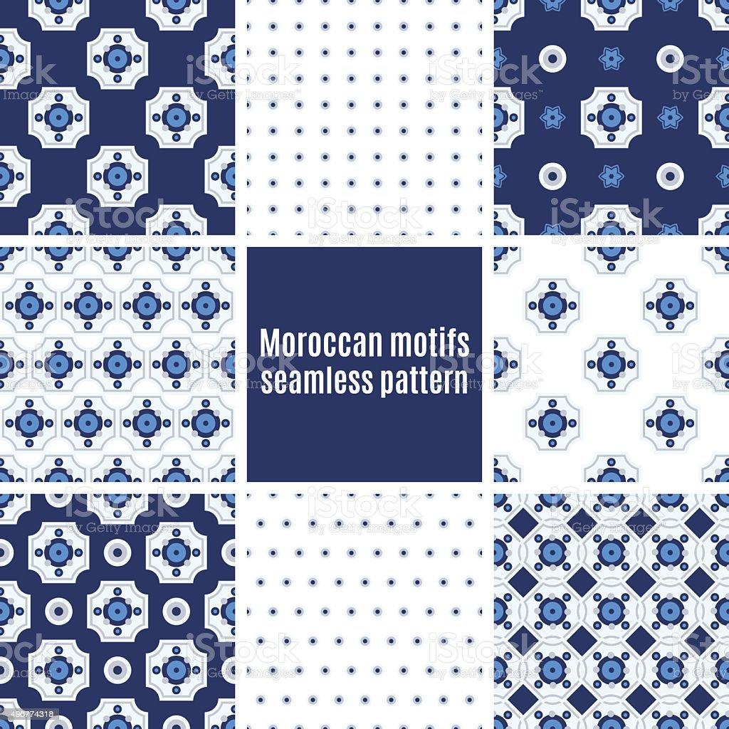 Portuguese Azulejos set of patterns vector art illustration