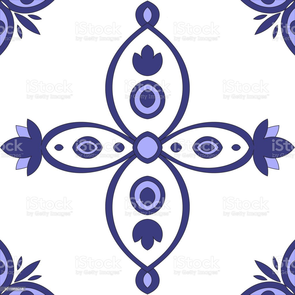 Portuguese Azulejos Tile Pattern Vector Seamless Blue White