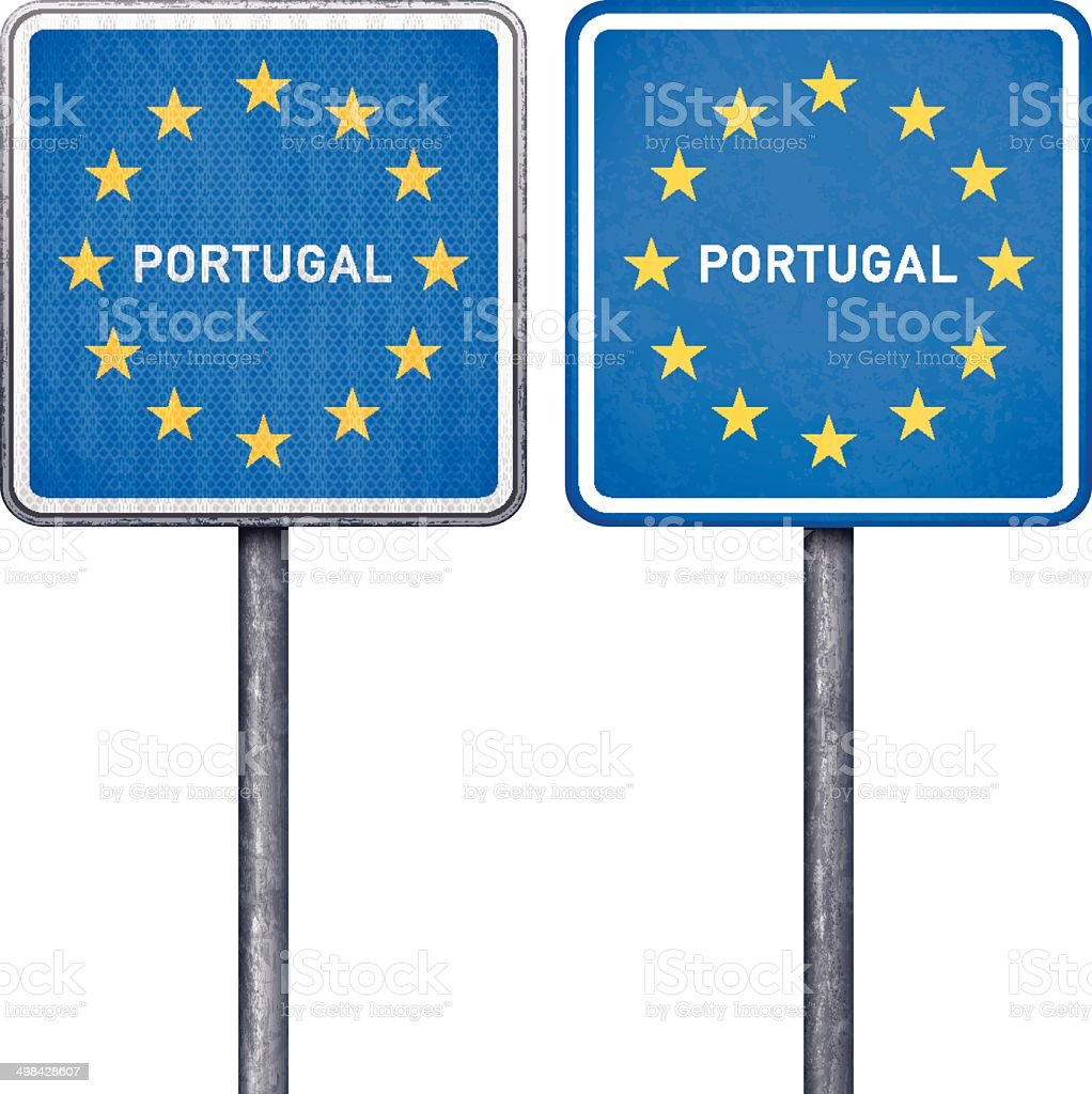 Portuguese border road sign with European flag royalty-free portuguese border road sign with european flag stock vector art & more images of authority
