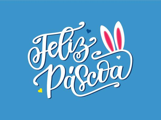 Portuguese Brazilian celebration quote Happy Easter. Spring illustration with hand drawn lettering Feliz Pascoa and bunny ears. Festive design for print, logotype, banner, flyer, greeting card Portuguese Brazilian celebration quote Happy Easter. Spring illustration with hand drawn lettering Feliz Pascoa and bunny ears. Festive design for print, logotype, banner, flyer, greeting card easter stock illustrations