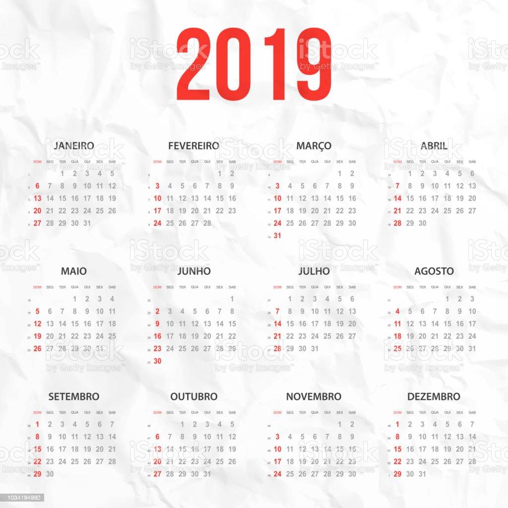 Calendario 1949.Portuguese Calendar 2019 On White Crumpled Background Stock