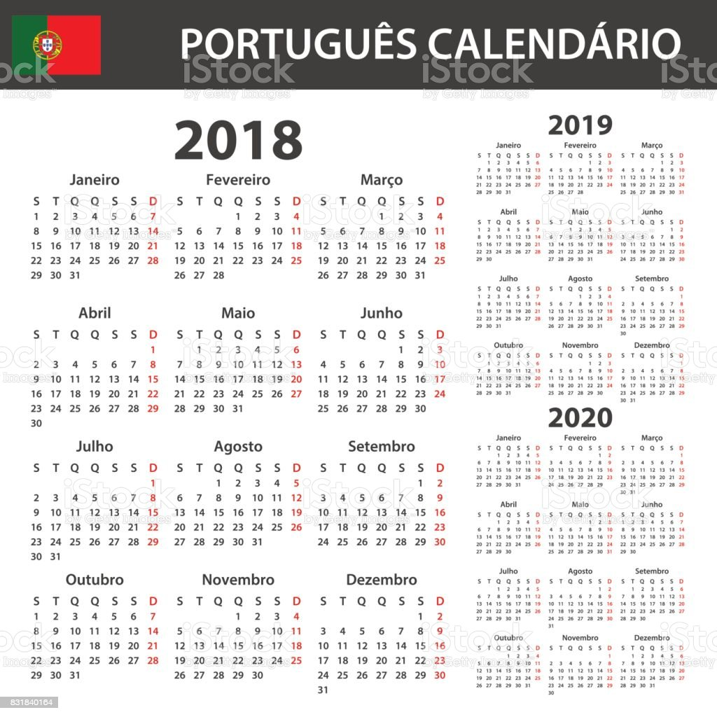 Portuguese Calendar for 2018, 2019 and 2020. Scheduler, agenda or diary template. Week starts on Monday vector art illustration