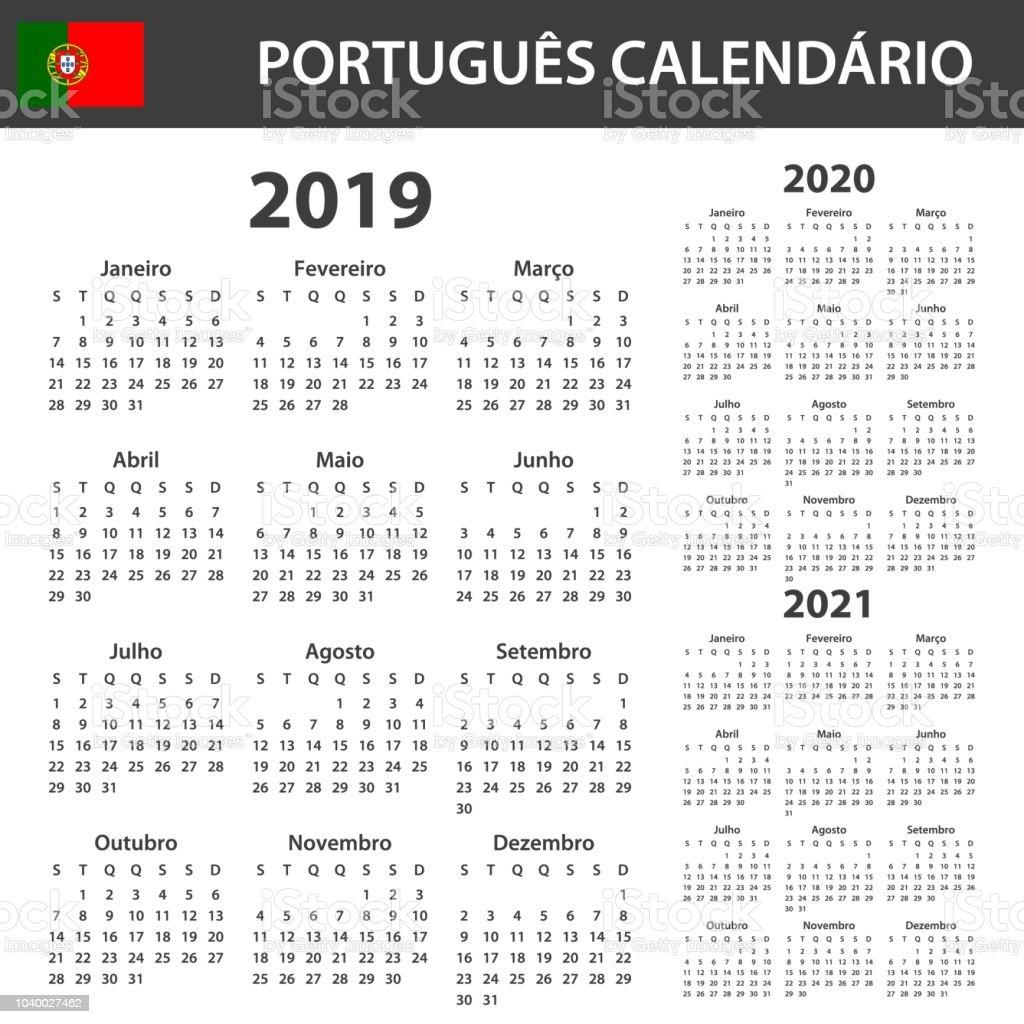 Calendario 2020 Portugal Com Feriados.Vetores De Calendario Portugues Para 2019 2020 E 2021 Modelo