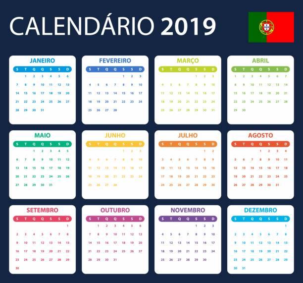 portugiesische kalender für das jahr 2019. scheduler, agenda oder tagebuch vorlage. woche beginnt am montag - tischkalender stock-grafiken, -clipart, -cartoons und -symbole