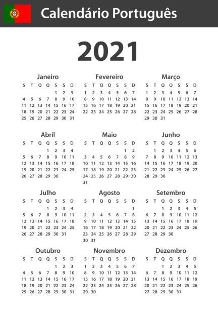 portugalski kalendarz na rok 2021. harmonogram, harmonogram lub szablon pamiętnika. tydzień zaczyna się w poniedziałek - kultura portugalska stock illustrations