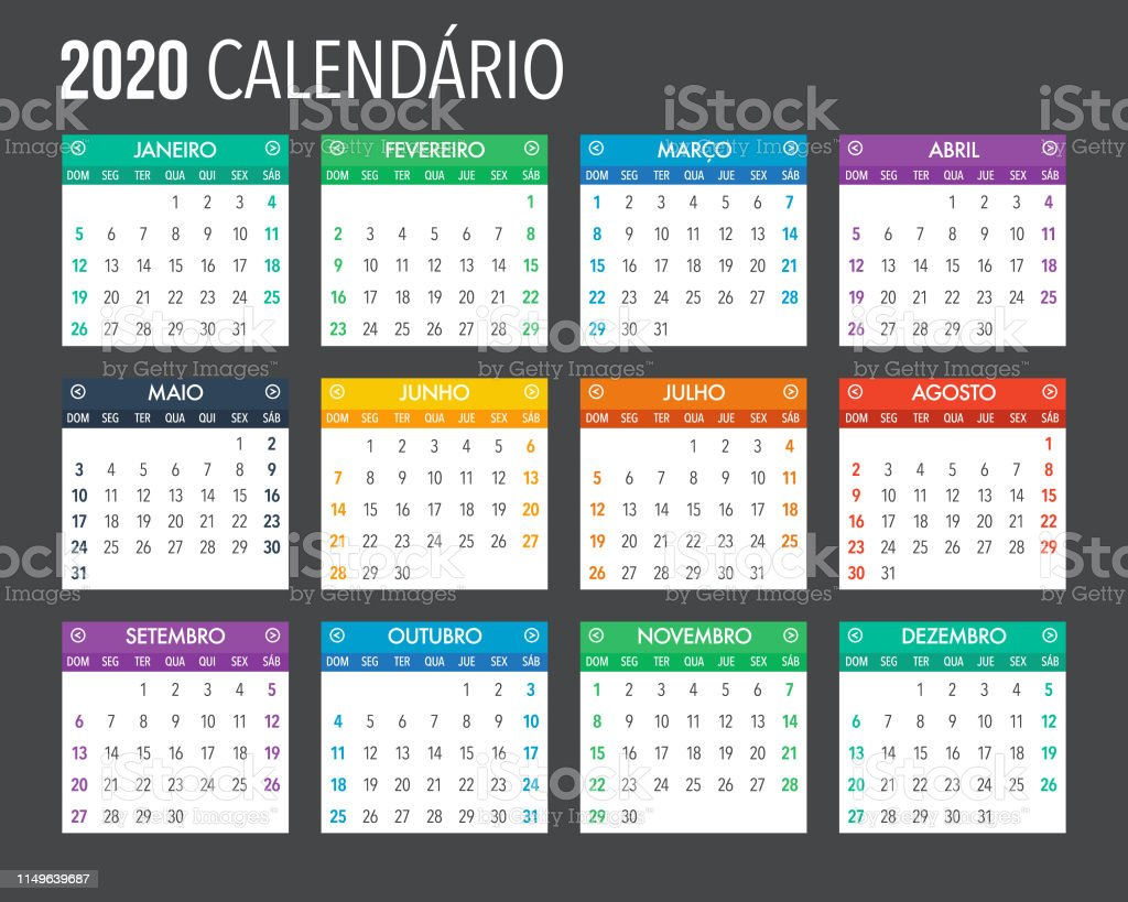 2020 Portuguese Calendar Template Design Stock Illustration