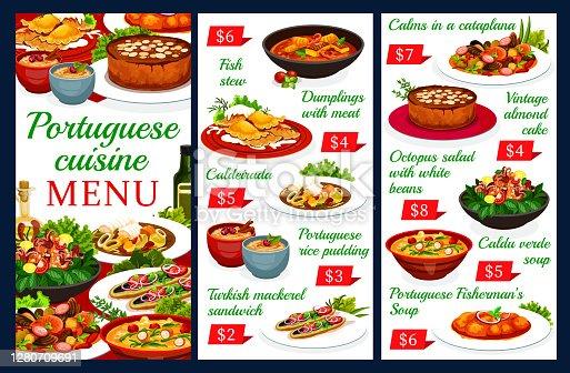 istock Portuguese cuisine vector menu, Portugal meals 1280709691
