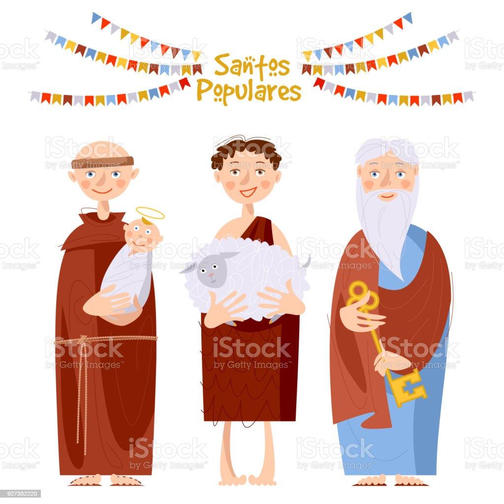 """Portuguese festival """"Santos Populares"""" (Popular Saints' ). Santo Antônio, São João, São Pedro (Saint Anthony, Saint John, Saint Peter). - ilustração de arte vetorial"""