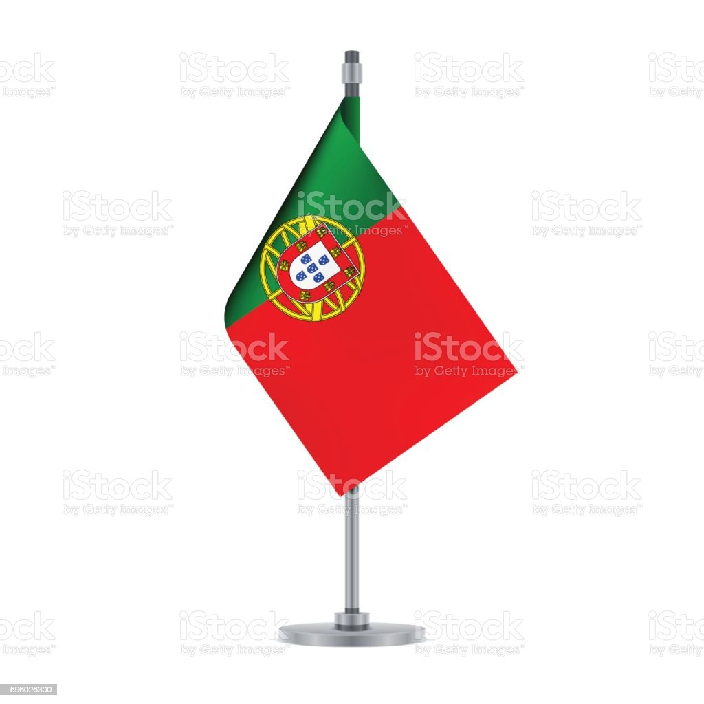 Portuguese flag hanging on the metallic pole, vector illustration - ilustração de arte vetorial