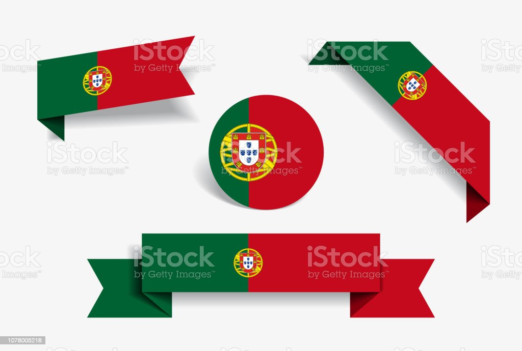 Portuguese flag stickers and labels. Vector illustration. - ilustração de arte vetorial