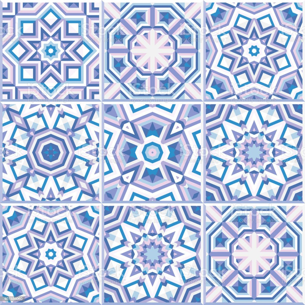 Portuguese Floor Tiles Design Seamless Pattern Vector Flooring Stock ...