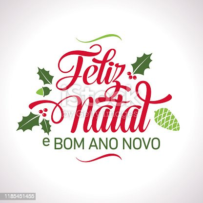istock Portuguese Happy Christmas Lettering Text 1185451455