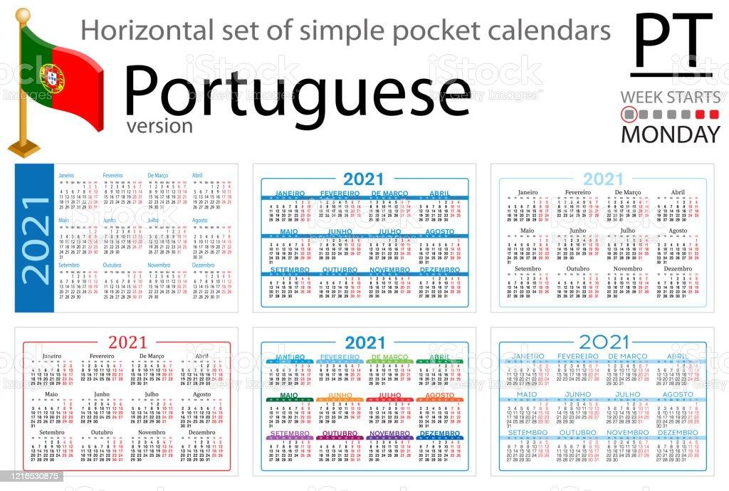 Calendrier De Poche Horizontal Portugais Pour 2021 Vecteurs libres