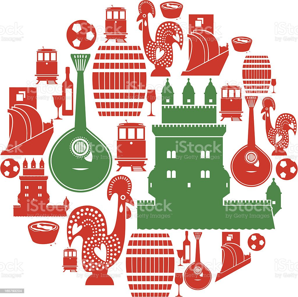 Portuguese Icon Set vector art illustration