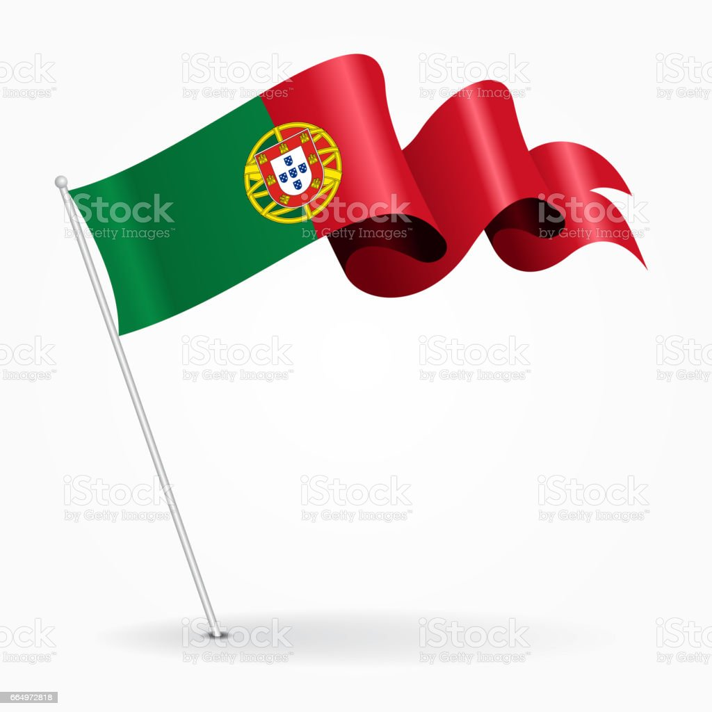 Portuguese pin wavy flag. Vector illustration. - ilustração de arte vetorial