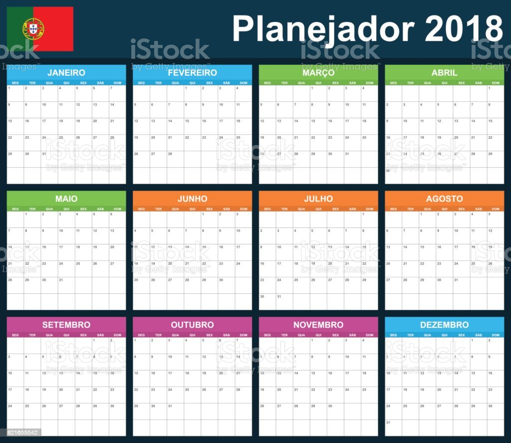 Portuguese Planner blank for 2018. Scheduler, agenda or diary template. Week starts on Monday vector art illustration
