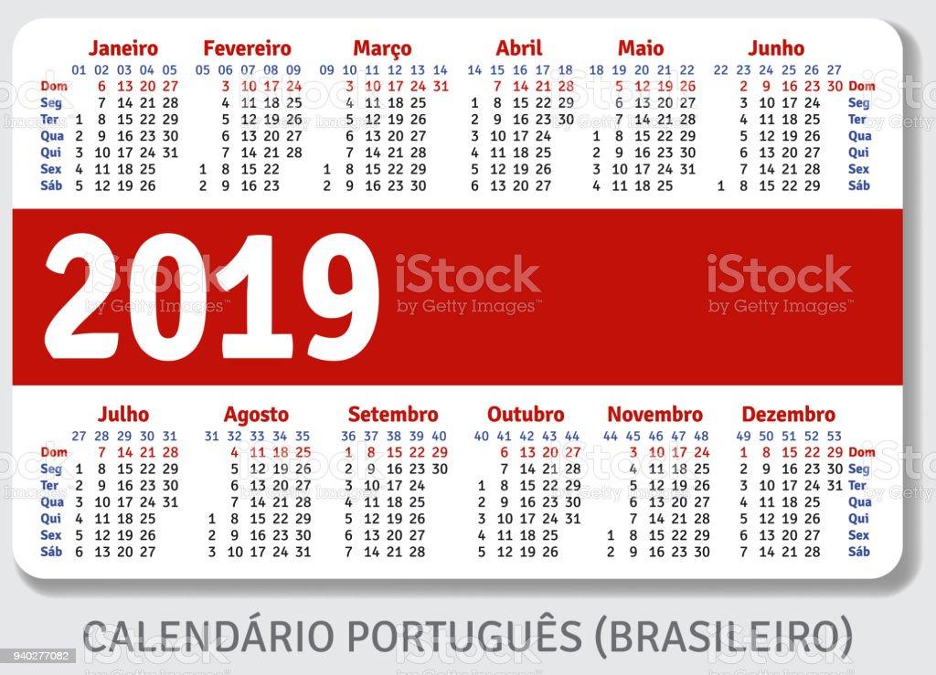 Pocket Calendar.Portuguese Pocket Calendar For 2019 Stock Illustration Download