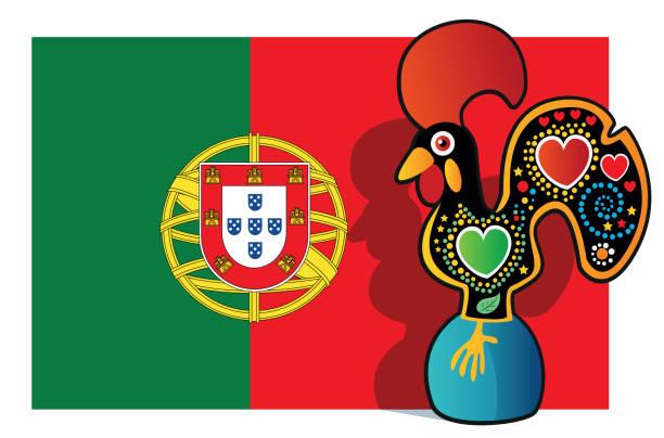 ilustrações de stock, clip art, desenhos animados e ícones de portuguese rooster and portugal flag - funchal madeira