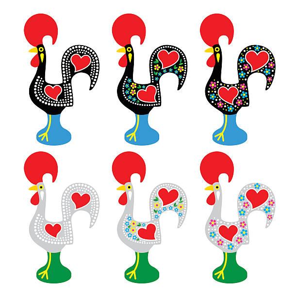 portugalski kogut z barcelos-galo de barcelos ikony - kultura portugalska stock illustrations