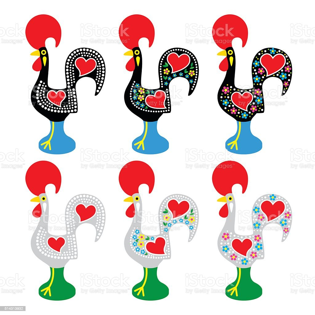 Portuguese Rooster of Barcelos - Galo de Barcelos icons vector art illustration