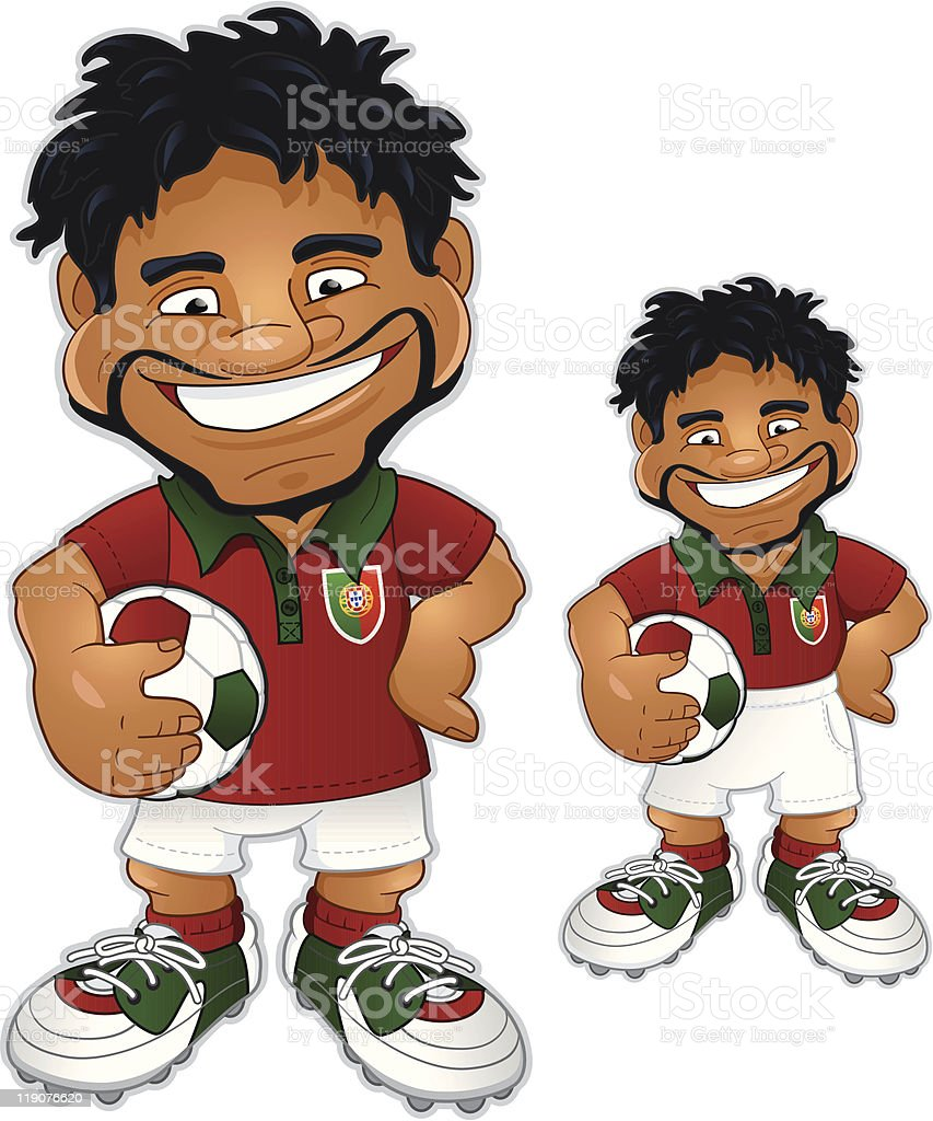 Portuguese soccer player in two versions royalty-free stock vector art