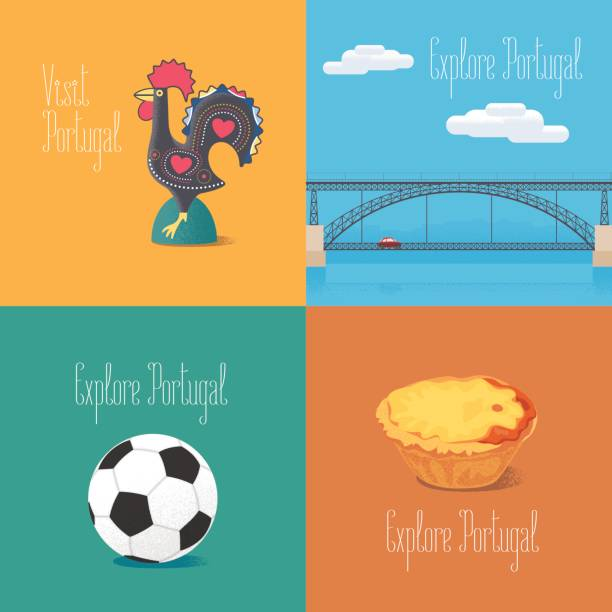 ilustrações de stock, clip art, desenhos animados e ícones de portuguese symbol barcelos rooster, football, bridge dom luis vector illustrations - douro