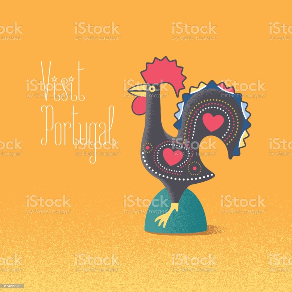 Portuguese Symbol Barcelos Rooster Vector Illustration Stock Vector