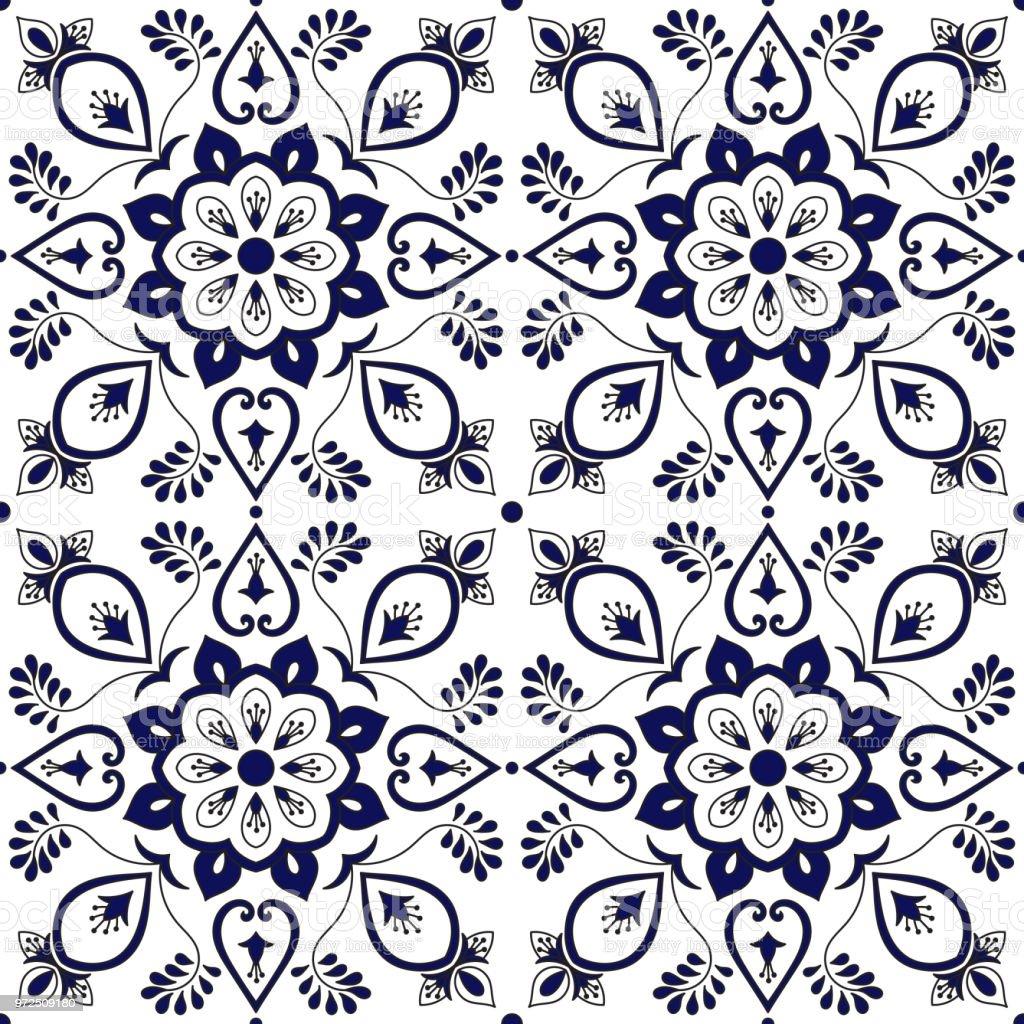 Portugiesische Fliesen Muster Vektor Nahtlos Mit Blauen Und Weißen - Tapete portugiesische fliesen