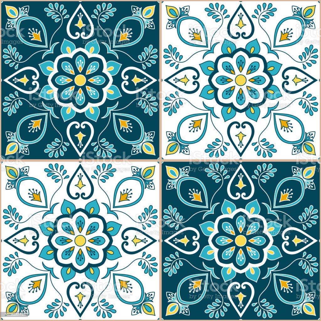 Portugiesische Fliesen Muster Vektor Mit Barocken Floralen - Fliesen mit motiv für küche