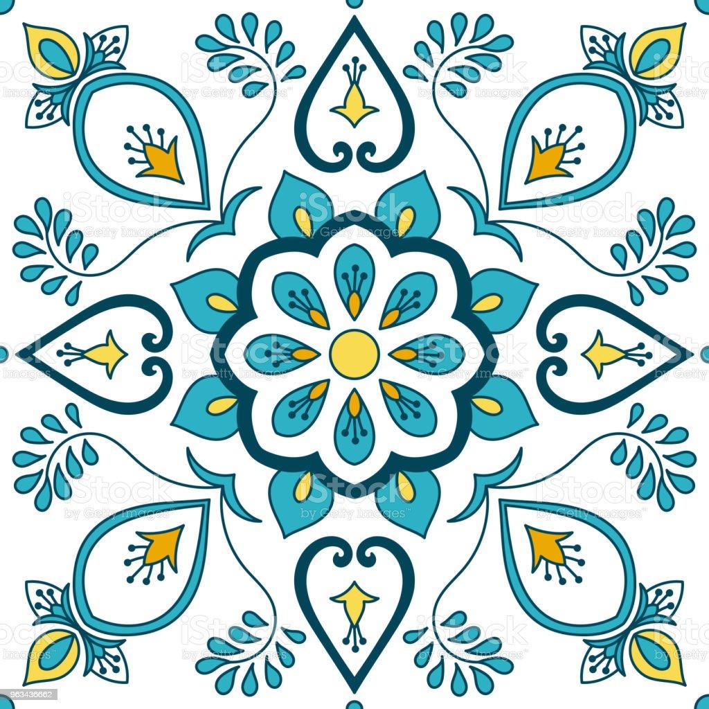 Portugiesische Fliesen Muster Vektor Mit Floralen Ornamenten Motiven - Portugiesische fliesen küche
