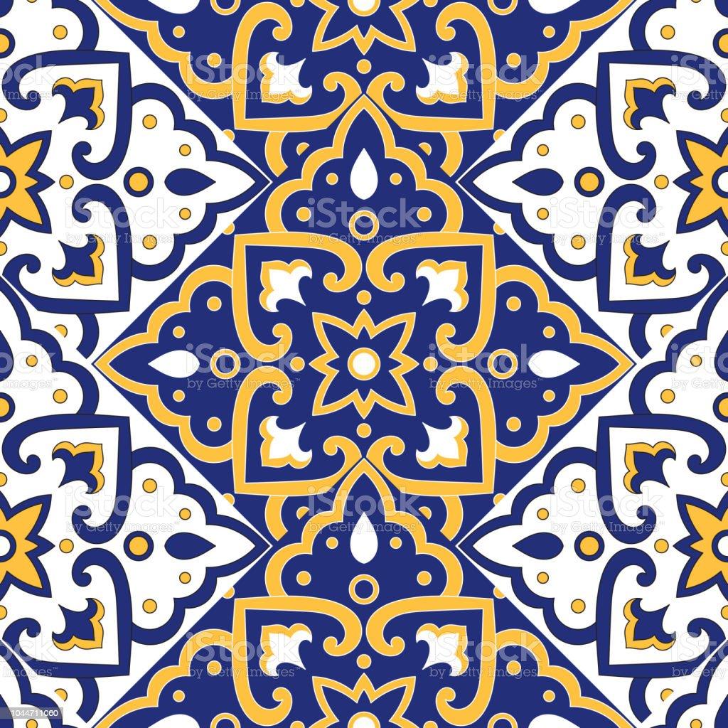 Portugiesische Fliesen Muster Vektor Mit Skala Blau Ornamente Gelben