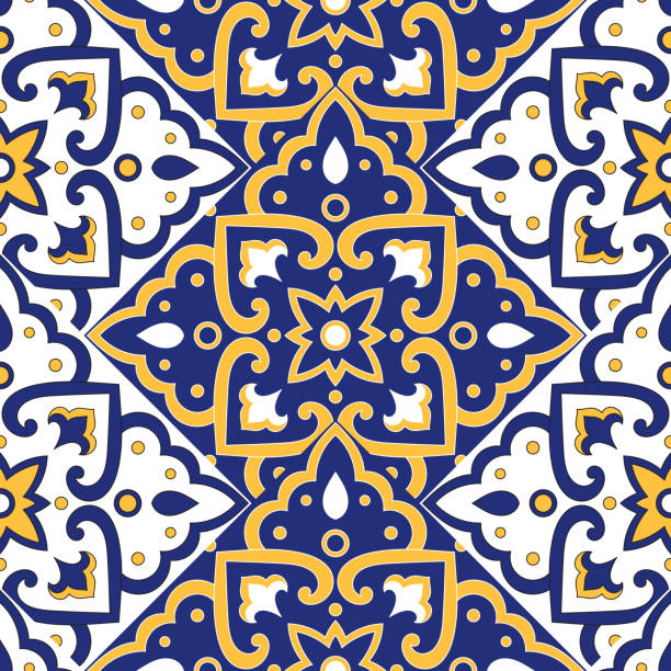 portuguese tile pattern vector with scale blue, yellow and white mosaic ornaments. azulejos, mexican talavera, spanish or italian sicily majolica. texture for kitchen or bathroom flooring ceramic. - sicily stock illustrations