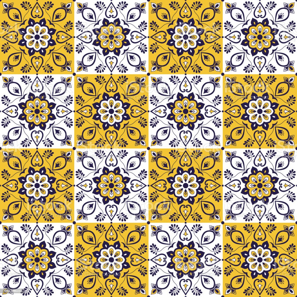 Portuguese Tile Pattern Vector With Vintage Ornaments Portugal ...