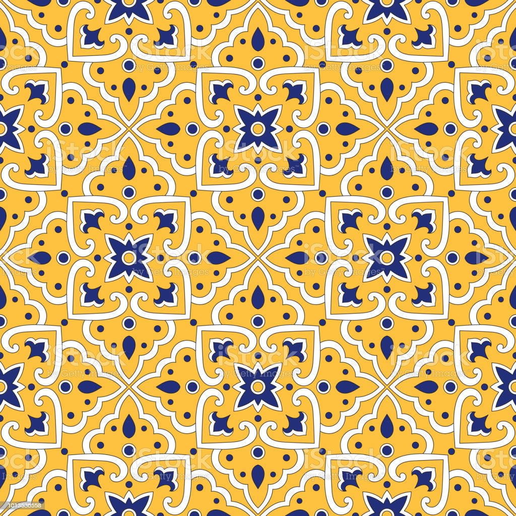 Portuguese Tile Pattern Vector With Yellow Ornaments Portugal ...