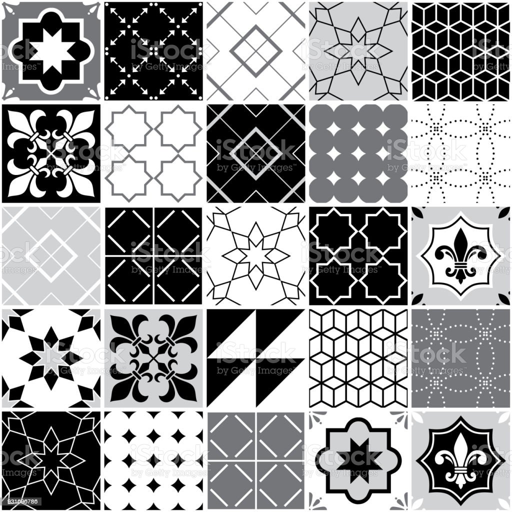Portuguese Tiles Azulejos Seamless Vector Tile Pattern Geometric And ...