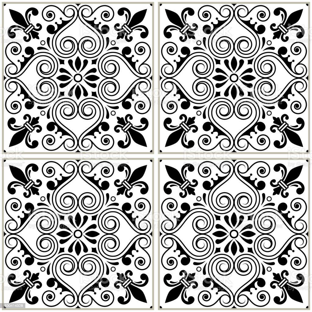Ilustra o de portugu s telhas padr o projeto de azulejo for Azulejo a cuadros blanco y negro barato
