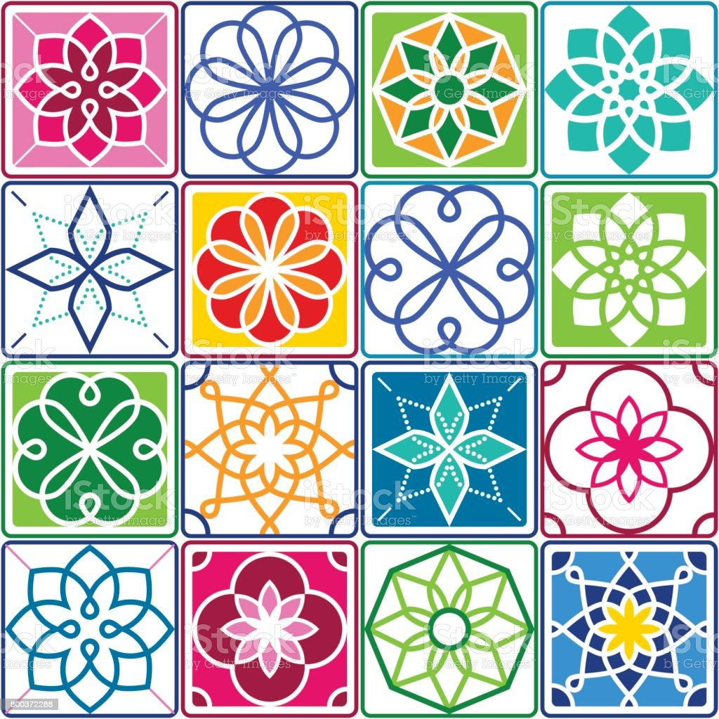 Ilustraci n de portugu s azulejos patr n azulejo colecci n - Azulejos de colores ...