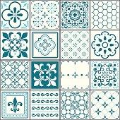 Portuguese tiles pattern, Lisbon seamless turquoise tiles, Azulejos vintage geometric ceramic design