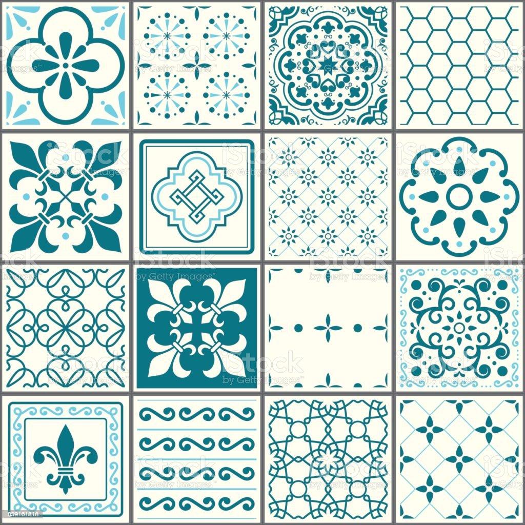 Portuguese tiles pattern, Lisbon seamless turquoise tiles, Azulejos vintage geometric ceramic design vector art illustration