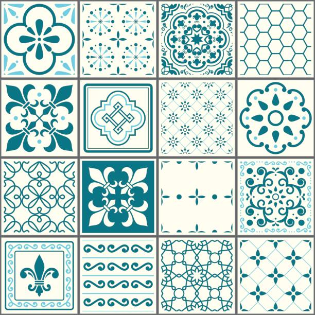 portuguese tiles pattern, lisbon seamless turquoise tiles, azulejos vintage geometric ceramic design - tile pattern stock illustrations, clip art, cartoons, & icons