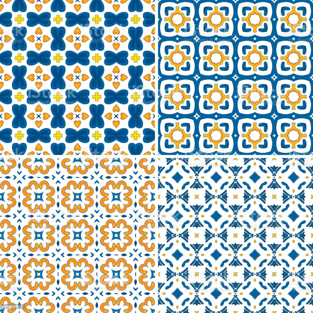 Portuguese tiles vector art illustration