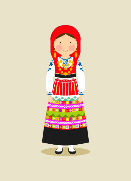 Portuguese traditional clothing for women vector art illustration
