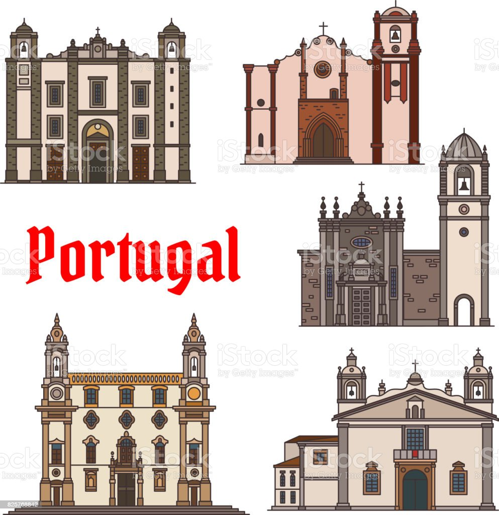Portuguese travel landmark icon for travel design - ilustração de arte vetorial