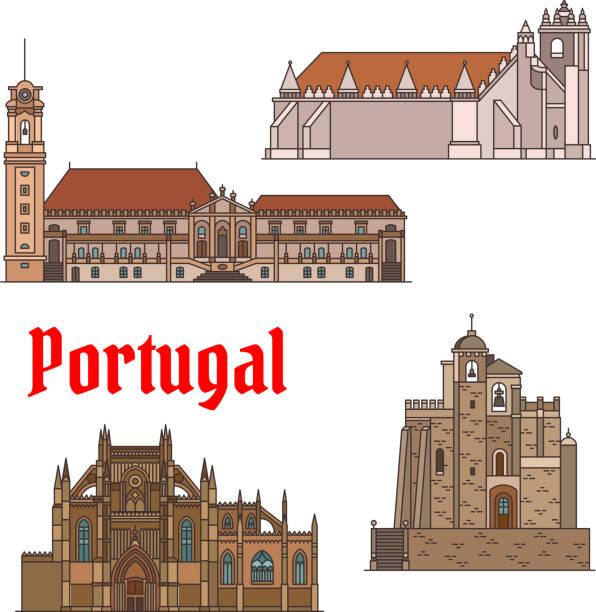 ilustrações de stock, clip art, desenhos animados e ícones de portuguese travel landmarks thin line icon set - aveiro