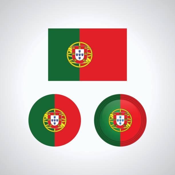 ilustrações de stock, clip art, desenhos animados e ícones de portuguese trio flags, vector illustration - portugal